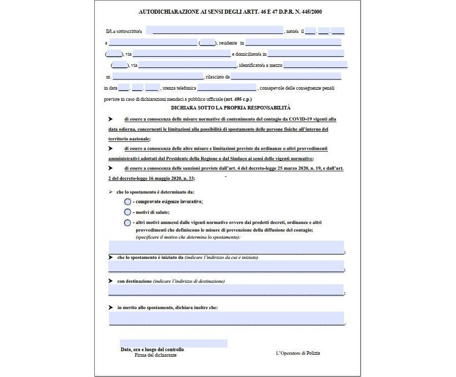 Autocertificazione, il nuovo modulo del ministero dell'Interno Compilabile al PC